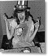 Debbie C. Celebrating July 4th Lincoln Gardens Tucson Arizona 1990 Metal Print by David Lee Guss