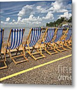 Deckchairs At Southend Metal Print by Avalon Fine Art Photography