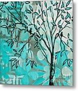 Decorative Abstract Floral Birds Landscape Painting Bird Haven I By Megan Duncanson Metal Print by Megan Duncanson
