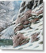 Deer In A Snowy Landscape Metal Print by Gustave Courbet