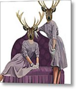 Deer Twins In Purple Metal Print by Kelly McLaughlan