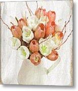 Deluxe Peach Tulips Metal Print by Debra  Miller