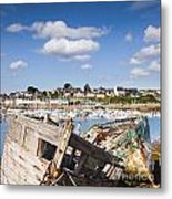 Derelict Fishing Boats Camaret Sur Mer Brittany Metal Print by Colin and Linda McKie