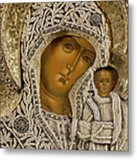 Detail Of An Icon Showing The Virgin Of Kazan By Yegor Petrov Metal Print by Russian School