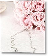 Diamond Necklace And Pink Roses Metal Print by Stephanie Frey