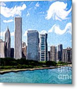 Digitial Painting Of Downtown Chicago Skyline Metal Print by Paul Velgos