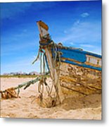 Dilapidated Boat At Ferragudo Beach Algarve Portugal Metal Print by Amanda And Christopher Elwell