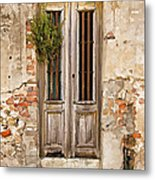 Dilapidated Brown Wood Door Of Portugal Metal Print by David Letts