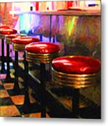 Diner - V2 - Square Metal Print by Wingsdomain Art and Photography
