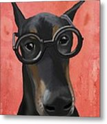 Doberman With Glasses Metal Print by Loopylolly