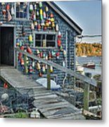 Dock House In Maine Metal Print by Jon Glaser