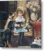Doddy And Her Pets Metal Print by Charles Trevor Grand