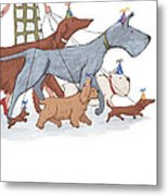 Dog Walker Metal Print by Christy Beckwith