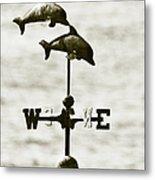 Dolphins Weathervane In Sepia Metal Print by Ben and Raisa Gertsberg