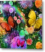 Double Dahlia Flower Party Metal Print by Alixandra Mullins