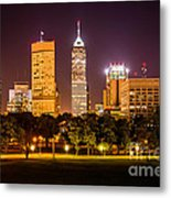 Downtown Indianapolis Skyline At Night Picture Metal Print by Paul Velgos