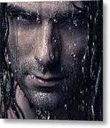 Dramatic Portrait Of Man Wet Face With Long Hair Metal Print by Oleksiy Maksymenko