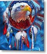 Dream Catcher - Eagle Red White Blue Metal Print by Carol Cavalaris
