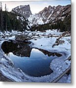 Dream Lake Reflection Square Format Metal Print by Aaron Spong