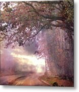 Dreamy Pink Nature Landscape - Surreal Foggy Scenic Drive Nature Tree Landscape  Metal Print by Kathy Fornal