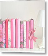 Dreamy Romantic Books Collection - Shabby Chic Cottage Chic Pastel Pink Books Photograph Metal Print by Kathy Fornal