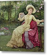 Drinking Coffee And Reading In The Garden Metal Print by Edward Killingworth Johnson
