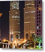 Dubai Business Towers Metal Print by Zaharra Hemani
