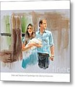 Duke And Duchess Of Cambridge With Their New Son Metal Print by Roger Lighterness
