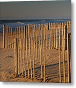 Dune Fences At First Light I Metal Print by Steven Ainsworth