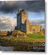 Dunguaire Castle With Dramatic Sky Kinvara Galway Ireland Metal Print by Juli Scalzi