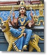 Durga Statue On Hindu Gopuram Metal Print by Tim Gainey