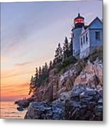 Dusk At Bass Harbor Light Metal Print by Stephen Beckwith