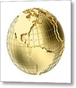 Earth In Gold Metal Isolated On White Metal Print by Johan Swanepoel