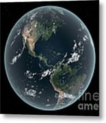 Earths Western Hemisphere With Rise Metal Print by Walter Myers