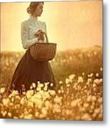 Edwardian Woman In A Meadow At Sunset Metal Print by Lee Avison
