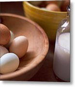 Eggs Bowls And Milk Metal Print by Toni Hopper