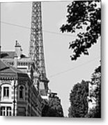 Eiffel Tower Black And White 4 Metal Print by Andrew Fare