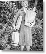 Elderly Shopper Statue Key West - Black And White Metal Print by Ian Monk