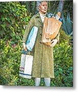 Elderly Shopper Statue Key West - Hdr Style Metal Print by Ian Monk