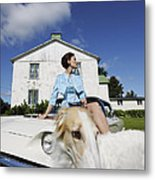 Elegant Woman And Borzoi Dog Metal Print by Christian Lagereek