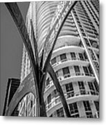 Element Of Duenos Do Los Estrellas Statue With Miami Downtown In Background - Black And White Metal Print by Ian Monk