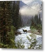 Elk Crossing Metal Print by Leland D Howard