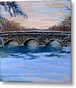 Elm Street Bridge On A Winter's Morn Metal Print by Jack Skinner
