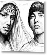Eminem Art Drawing Sketch Poster Metal Print by Kim Wang