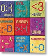 Emoticons Patch Metal Print by Debbie DeWitt
