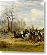Emperor Franz Joseph I Of Austria Hunting To Hounds With The Countess Larisch In Silesia Metal Print by Emil Adam