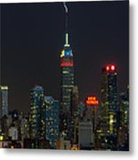Empire State Building Lightning Strike I Metal Print by Clarence Holmes