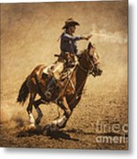 End Of Trail Mounted Shooting Metal Print by Priscilla Burgers