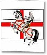 English Knight Lance Horse England Flag Side Retro Metal Print by Aloysius Patrimonio