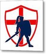 English Knight Silhouette England Flag Retro Metal Print by Aloysius Patrimonio